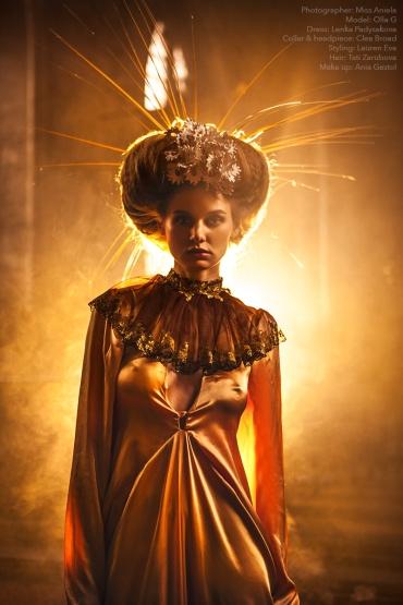 Photographer: Miss Aniela Model: Olla G Dress: Lenka Padysakova Collar and headpiece: Clea Broad Shoes: Model's own Styling: Lauren Eva Hair: Tati Zarubova Make up: Ania Gastol