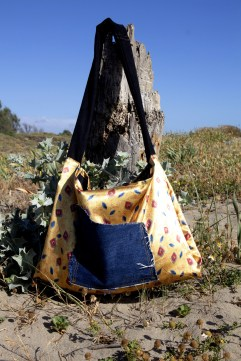 Double sided recycled fabrics beach bag